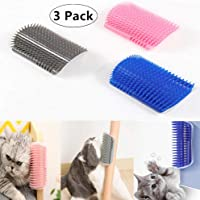 Carnatory 3 Pack Cat Self Groomers Soft Wall Cat Corner Massage Combs Grooming Brush Perfect Massager Tool for Cats with Long and Short Fur (Blue & Pink & Grey)