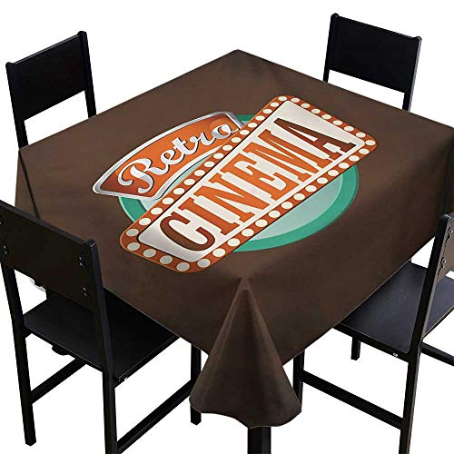 All of better Movie Theater Non Slip Tablecloth Retro Style Cinema Sign Design Film Festival Hollywood Theme Tablecloth 4 Seater Brown Turquoise Vermilion