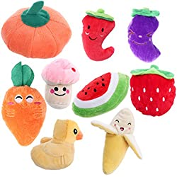 UEETEK 9pcs Dog Squeaky Toys Fruits and Vegetables Pet Plush Chewing Toys for Puppy Small Dogs