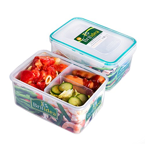 Leakproof Lunch Bento Box Food Storage Container with Airtight Lid and Removable Compartments with Dividers 1.27 QT, Odor Proof, Freezer Fridge Safe, Microwave Dishwasher Safe, Plastic (Leak Proof Sauce Container compare prices)