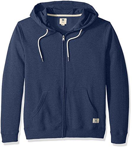 DC Men's Rebel Zip-up Hoodie Sweatshirt, Washed Indigo, XXL