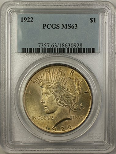 1922 Peace Silver Dollar Coin (ABR11-E) Toned $1 MS-63 PCGS