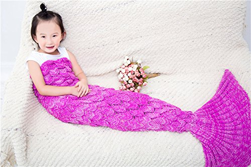 BG All Seasons Soft Crochet Mermaid Tail Blanket with Scales Pattern for Kids 55.12in x27.60in ( 140cm x 70cm Hot (Mermaid For Kids)