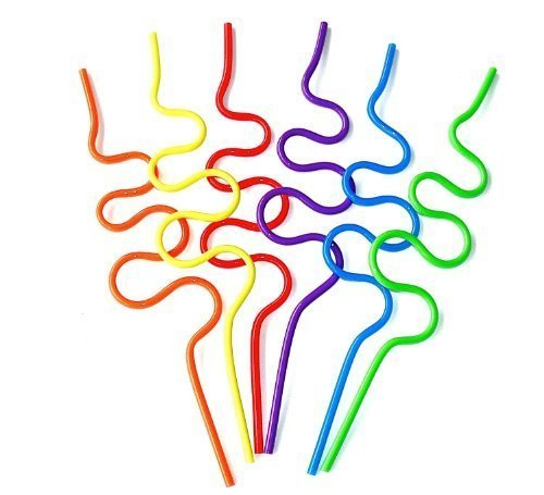 Krazy Straws (Pack of 2) for Children's Party Tableware, Birthdays, Daycare, Picnics, or Baby Showers