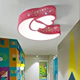 Ceiling Lights Living Room Bedroom Blue/Pink Boy Girl Bedroom Ceiling Light Children's Room LED Ceiling Lamp (50*48*10cm-LED24W) Indoor Lighting YANGFF-Ceiling Lights ( Color : Pink-White light )