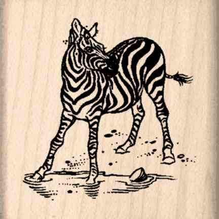 Zebra Rubber Stamp - 1-1/2 inches x 1-1/2 inches