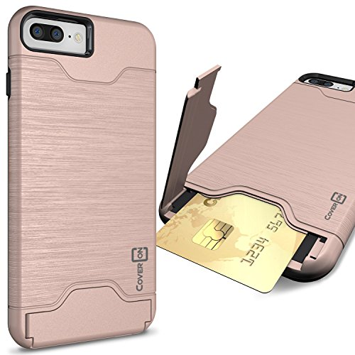 iPhone 8 Plus Case with Card Holder, iPhone 7 Plus Case, CoverON [SecureCard Series] Protective Hybrid Cover with Card Slot and Kickstand Case for Apple iPhone 8 Plus / iPhone 7 Plus - Rose Gold