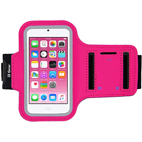 i2 Gear Running Exercise Armband Compatible with iPod Touch 6th and 5th Generation Devices with Adjustable Sport Band, Reflective Border, Touch Screen Protection and Key Holder (Hot Pink)