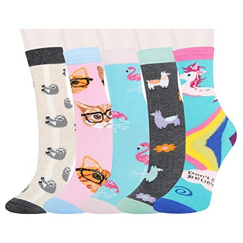 5 Pack Kids Girls Colorful Fun Novelty Rainbow Unicorn LLama Flamingo Cat Sloth Cotton Crew Socks Colorful Cartoon Socks