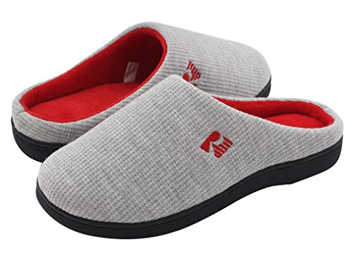 RockDove Women's Two-Tone Memory Foam Slipper (5-6 B(M) US, Gray/Red)