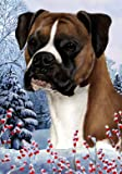 Cheap Boxer Fawn Uncropped – Best of Breed Winter Berries Large Flag