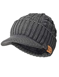 Ruphedy Mens Winter Knit Visor Beanie Hat Cable Thick Fleece Lined Newsboy Cap B320