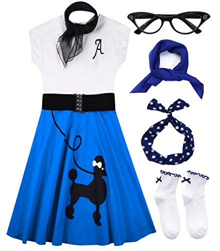 Hofolio 1950s Women Poodle Skirt Scarf Sock Costume Set -