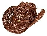 Women's Western Cowboy Hat with Rope Tie Down (Brown)