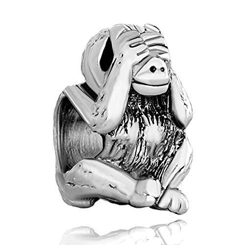 (Pugster Silver Plated Hear No Evil Monkey Animal Bead Fits Pandora Charm Bracelet (See No Evil))