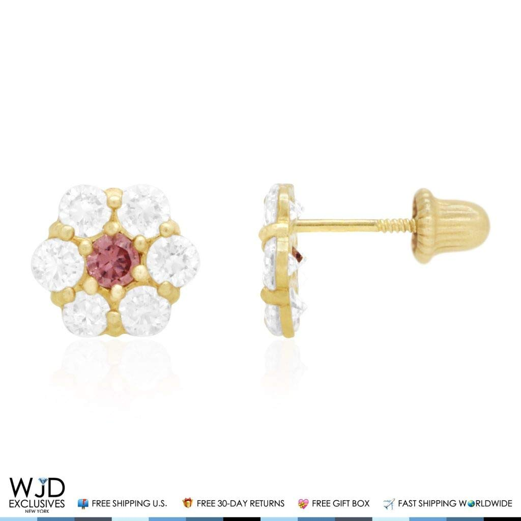 14k Solid Yellow Gold Diamond And Alexandrite Flower Cluster Screwback Stud Earrings 1.40Ct