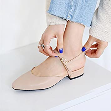 6490e8f68e91c SDKIR-Baotou sandalias Mujer Ha Suk zapatos de mujer salvaje hembra solo  zapatos cruz con fondo plano con punto bajo estudiantes zapatos albaricoque  34  ...