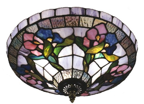 Dale Tiffany 7096/3LTF Hollyhock Flush Mount Light, Antique Brass and Art Glass Shade - Dale Tiffany Flush