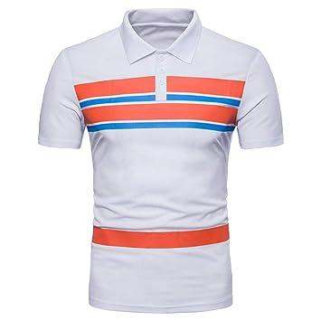 NISHISHOUZI Nueva Camiseta Hombre Polo a Rayas de Color Contraste ...