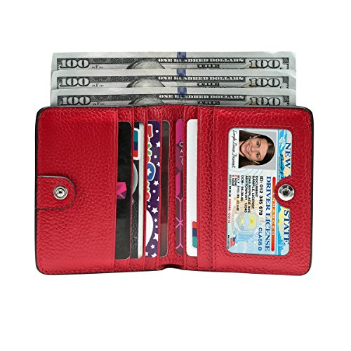 Itslife Women's Rfid Blocking Small Compact Bifold Leather Pocket Wallet Ladies Mini Purse with id Window (Lichee Red)