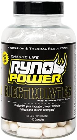Ryno Power Electrolyte Capsules – Reduce Muscle Cramping and Heat Fatigue – All-Natural Gluten Free Banned Substance Free