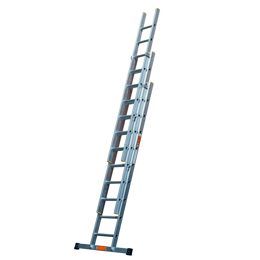 TB Davies EN131 Professional 2.5m (8.2ft) Triple Section Aluminium Extension Ladders Inc Stabiliser Bars - Extends to 5.5m (18.04ft) - Comfort D Shaped Rungs - 3 Year Warranty