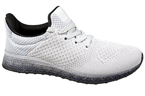 gibra - Zapatillas de running de tela para hombre gris claro