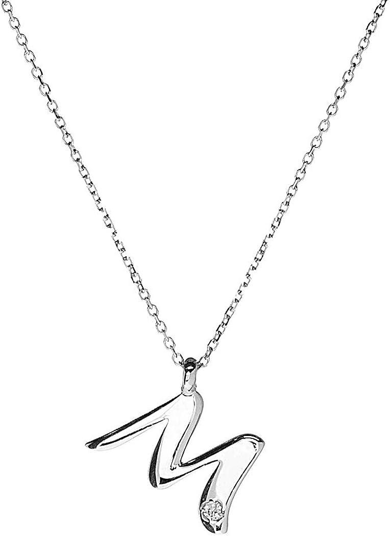 Anelie Gioielli - Colgante inicial M con cadena de oro blanco de 9 quilates y diamantes, collar diamantado de 45 cm para mujer, oro con letra M con diamante