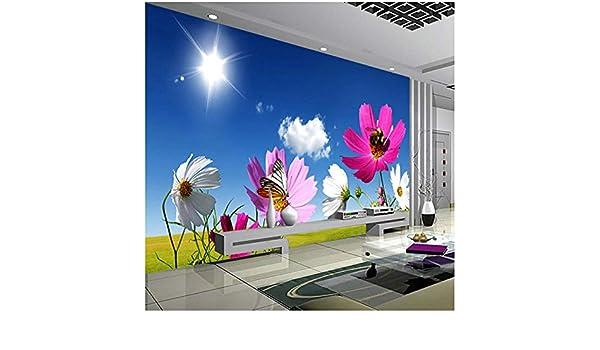 Custom Photo Mural Papel Pintado Blue Sky White Clouds Sunshine Flower Wall Painting Living Room Revestimiento De Paredes 420cm(W) x260cm(H): Amazon.es: Bricolaje y herramientas