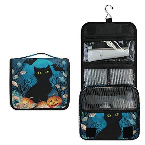 JOYPRINT Hanging Toiletry Bag Autumn Animal Cat Halloween, Makeup Bag Cosmetic Bag Bathroom Travel Organizer Large for Women -