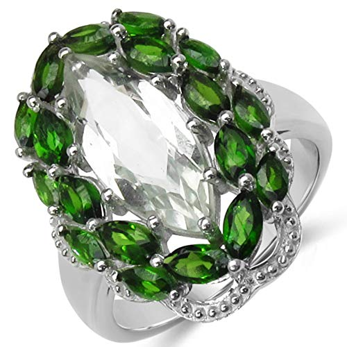 - Bonyak Jewelry Genuine Marquise Prasiolite (Green Amethyst) and Chrome Diopside Ring in Sterling Silver - Size 7.00
