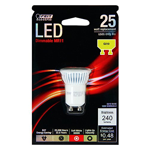 Feit Electric BPMR11/GU10/LED Electric Dimmable Led Lamp, 4 W, 120 V, Multi-Faceted Reflector, Gu10
