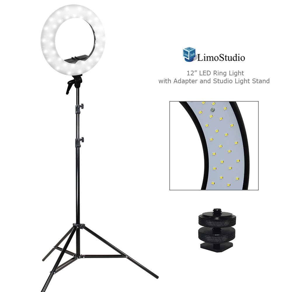 LimoStudio 12 inch Diameter Dimmable Continuous Round LED Ring Light, Beauty Facial Shoot, Smartphone, Youtube, Vine Self-Portrait, Light Stand Tripod, Camera Mount Adapter, Photo Studio, AGG2203V2 by LimoStudio