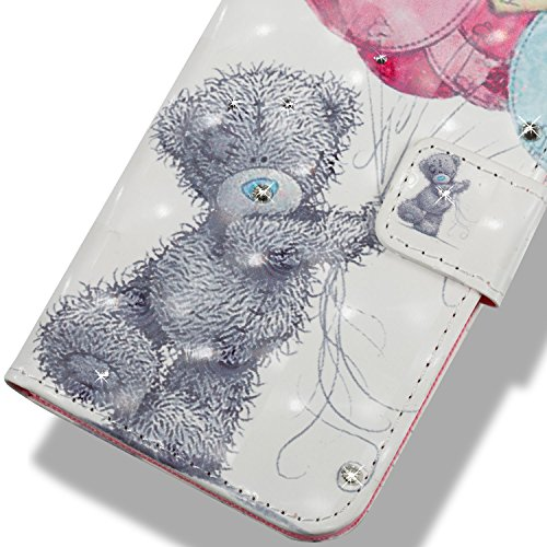 Lotuslnn Samsung Note8 caja del teléfono, caja de cuero de la PU cubierta de cierre magnético cubierta con Kickstand y ranuras para tarjetas de bolsillo en efectivo para Samsung Note8 - Flamingo pink Gray bear