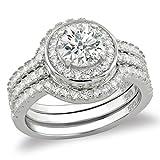 3.46 Carat .925 Sterling Silver Halo Triple engagement Wedding Ring Set (6)