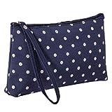 LANGMAN Makeup Bag, Cotton Linen Large Capacity Bag Multifunction Print Travel Cosmetic Bag Change Bag (Dark Blue)