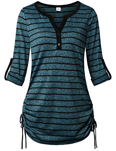 FANSIC Ladies Summer Tops and Blouses,Comfy 3/4 Sleeve Color Block Striped Tunic Shirts Black Blue Large
