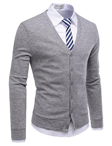 NEARKIN (NKNKCAC1 Mens Knitwear City Casual Slim Cut Long Sleeve Cardigan Sweaters Gray US S(Tag Size S) (Acrylic Blend Knitwear)