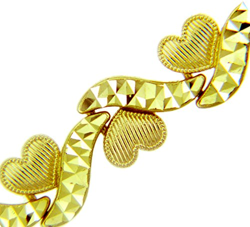 Petits Merveilles D'amour - 14 ct Or Jaune Bracelet - Petits Coeurs Bracelet