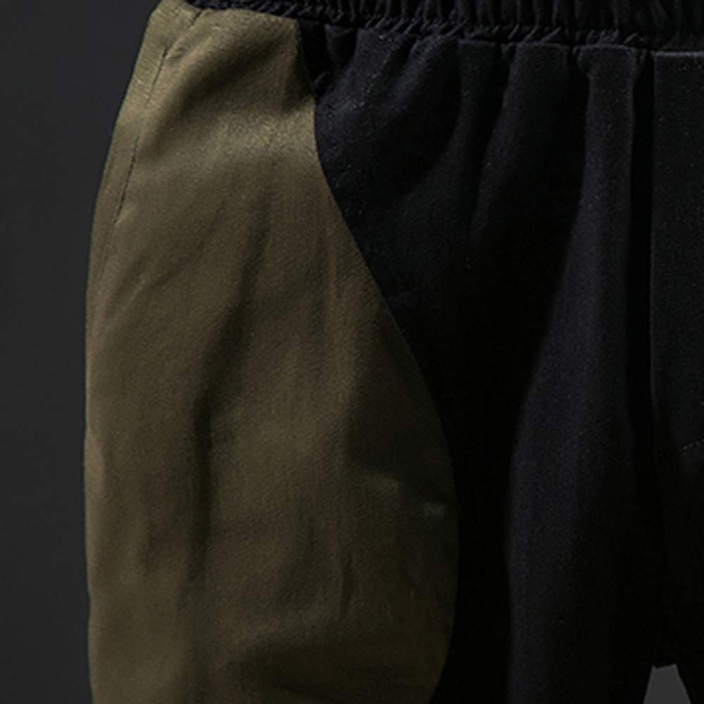 LEERYAAY Cargo/&Chinos Mens Fashion Color Collision Trousers Baggy Pencil Pants Feet Casual Pants