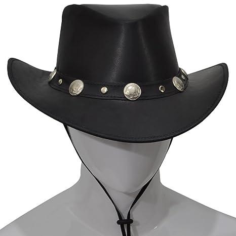 AQWA Western Style Leather COWBOY HAT Bull Stud Bush Conchos Hats Band  Chinstrap