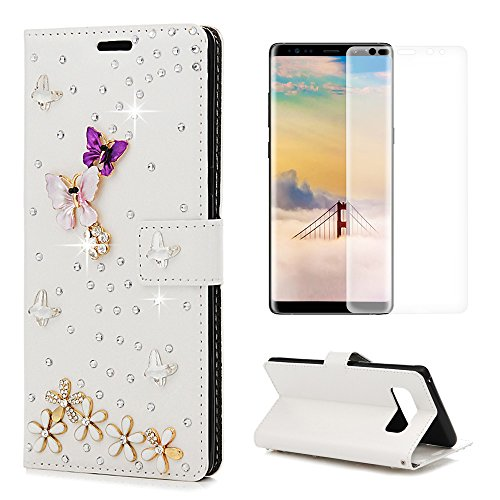 Note 8 Case, MOLLYCOOCLE Crazy Horse Pattern PU Leather TPU Soft Inner Wallet Case Crystal Diamonds Floral Butterfly 3D Design Magnetic Flip Card ID Holder Cover for Samsung Galaxy Note 8, White -