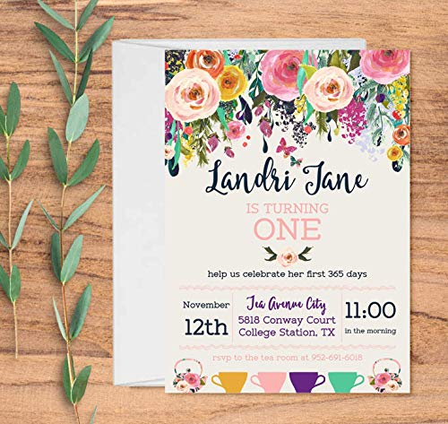 Set of 10 Tea Party Invitations for Girls with Envelopes Birthday Tea Party