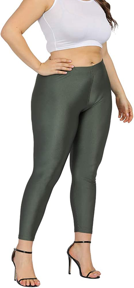 Allegrace Womens Plus Size Casual Soft Leggings Bright Stretch Yoga Workout Pants