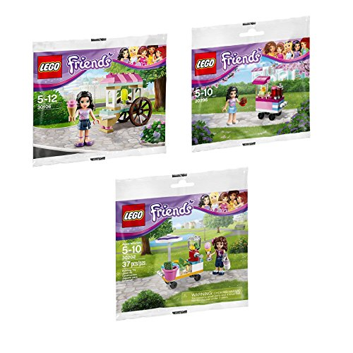 (LEGO Friends Outdoor Food Market Cupcake Stall (30396) Smoothie Stand (30202) and Ice Cream Stand (30106) 3-Set)