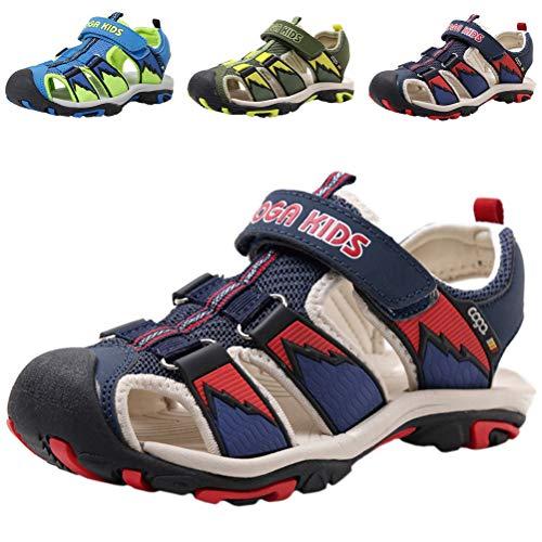 DADAWEN Boy's Girl's Summer Beach Outdoor Closed-Toe Sport Sandals (Toddler/Little Kid/Big Kid) Dark Blue/Red US Size 2 M Little Kid ()