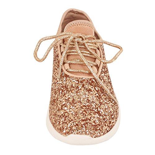 Guilty Schuhe Damenmode Glitter Metallic Schnürschuh Sparkle Slip On - Wedge Platform Sneaker Roségold Glitter