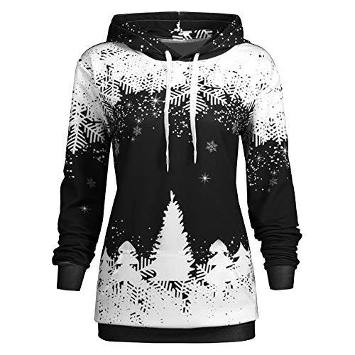 Womens Christmas Tops Toamen Clothes Sale Clearance Xmas Print Drawstring Long Sleeve Hooded Sweatshirt Blouse Tops Coat Black