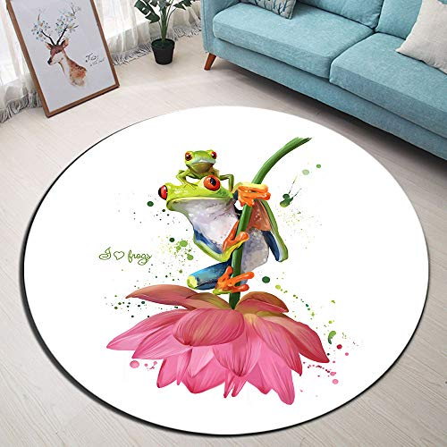 Two Green Frogs Sitting on a Flower Area Rugs, Watercolor Drawing Memory Foam Non-Slip Round Rug Floor Mat, Washable Living Room Bedroom Carpet Kids Playmat, Dia. 4'(120cm)