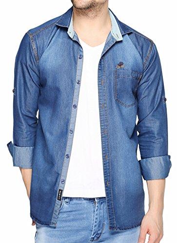 Lafantar Men #39;s Solid Slim Fit Casual Shirt  dms46d_Blue_Large